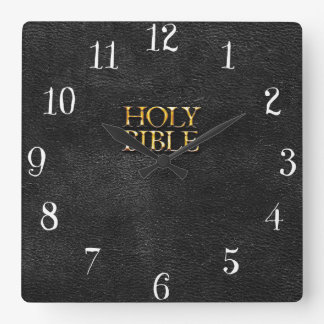 Holy Bible Christian Religion Faux Black Leather Square Wall Clock