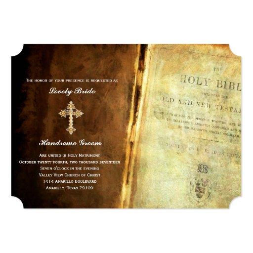 Wedding Bible: Holy Bible Gold Cross Christian Wedding Invitation