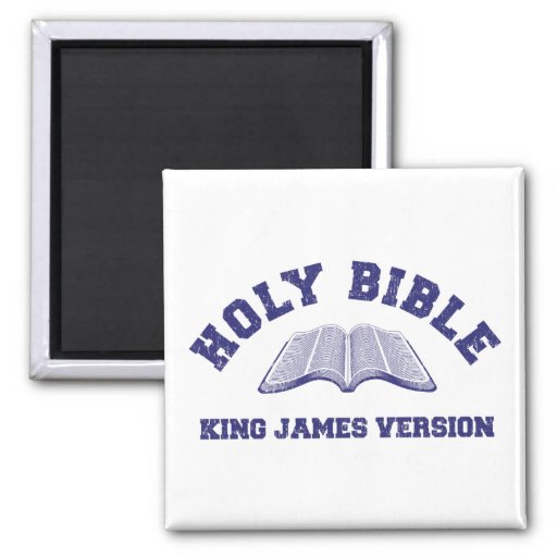 Holy Bible King James Version in blue distressed 2 Inch Square Magnet