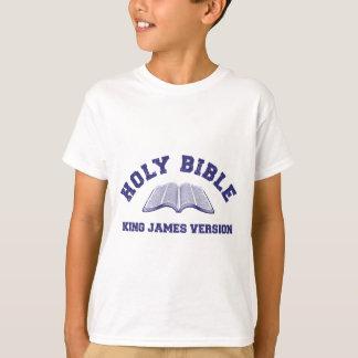 Holy Bible King James Version in blue distressed T-Shirt