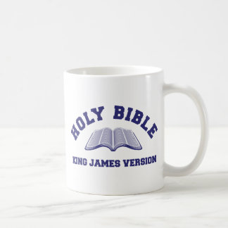 Holy Bible King James Version in blue Classic White Coffee Mug