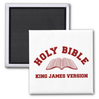 Holy Bible King James Version in red 2 Inch Square Magnet