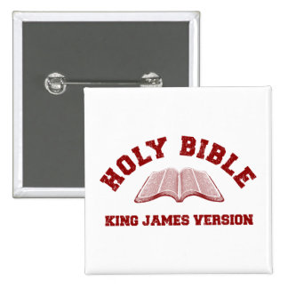 Holy Bible King James Version in red distressed Pinback Button