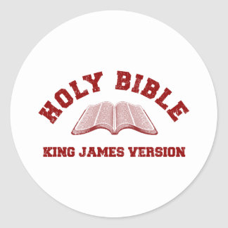 Holy Bible King James Version in red distressed Classic Round Sticker