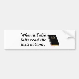 Holy Bible: Read Instructions Bumper Sticker
