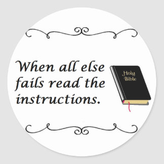 Holy Bible: Read Instructions Classic Round Sticker