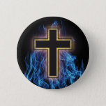 HOLY BLUE FIRE CROSS! CHRISTIAN SPIRITUAL POWER PINBACK BUTTON