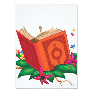 Holy Book on Leaves Surrounded with Flowers Card