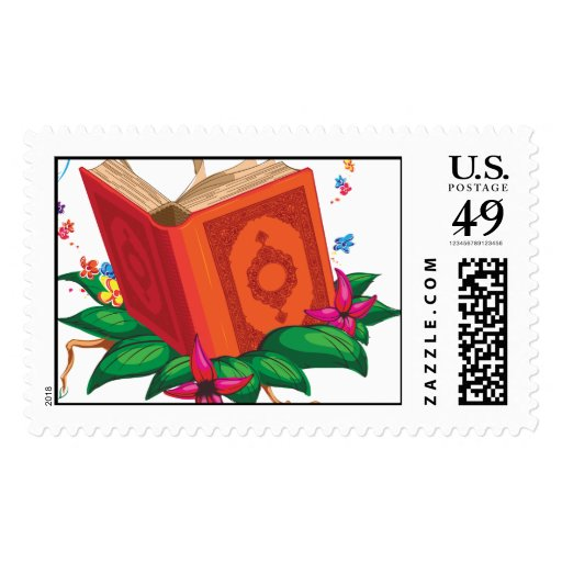 Holy Book on Leaves Surrounded with Flowers Postage Stamps