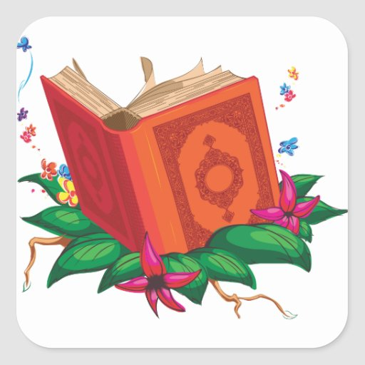 Holy Book on Leaves Surrounded with Flowers Square Stickers
