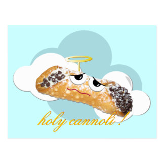 holy cannoli ! humorous parody postcard