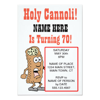Holy Cannoli Turning 70 Party Invitation