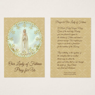 Holy Card | Our Lady of Fatima | gold damask