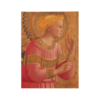 Holy Christian Angel Figure in Pink Gold Accents Wood Poster