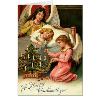 Holy Christmas Kids Angels Vintage Card