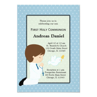 Holy Communion boy * Choose your background color 5x7 Paper Invitation Card