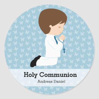 Holy Communion boy * Choose your background color Classic Round Sticker