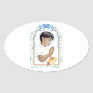 Holy communion, confirmation for boy oval sticker