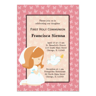 Holy Communion Girl * Choose your background color 5x7 Paper Invitation Card