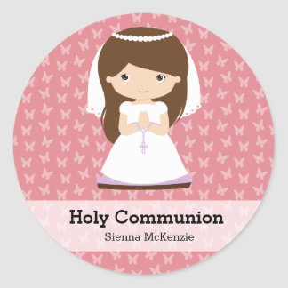 Holy Communion Girl * Choose your background color Classic Round Sticker