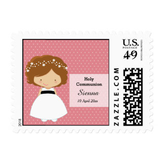 Holy Communion Girl * Choose your background color Postage