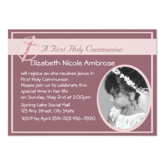 Holy Communion or Baptism Photo/ Pink 5x7 Paper Invitation Card