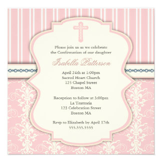 Holy Confirmation Vintage Pink Damask Invitation