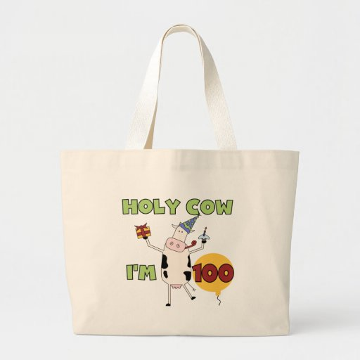 Holy Cow 100th Birthday Tshirts and Gifts Jumbo Tote Bag