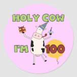 Holy Cow 100th Birthday Tshirts and Gifts Sticker