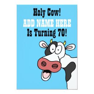 Funny 70th birthday invitations zazzle holy cow 70th birthday funny cartoon invite filmwisefo