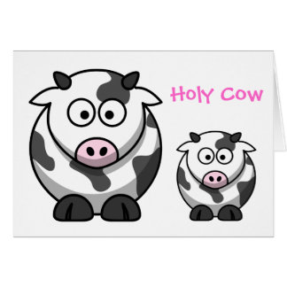 HOLY COW Cartoon Pink Nose Cow Funny Animal Card