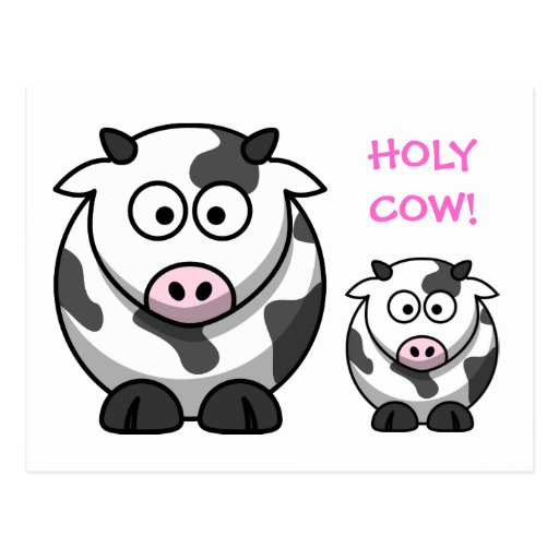 HOLY COW Cartoon Pink Nose Cow Funny Postcard