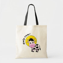 """""""Holy Cow"""" Cute Cow with halo Tote Bag"""