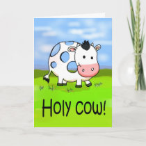 Holy Cow Funny Humor Friendship Miss You Card