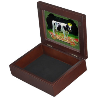 Holy Cow Halo Holstein Cattle Humor Memory Box
