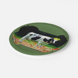 Holy Cow Halo Holstein Cattle Humor Paper Plate