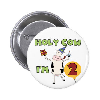 Holy Cow I m 2 Birthday T-shirts and Gifts Pin