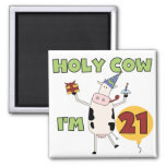 Holy Cow I'm 21 Birthday Tshirts and Gifts 2 Inch Square Magnet