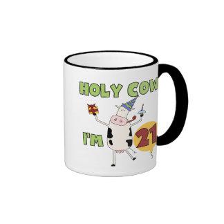 Holy Cow I'm 21 Birthday Tshirts and Gifts Ringer Coffee Mug