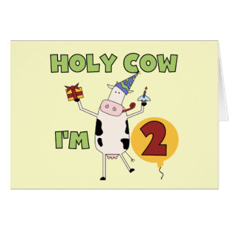 Holy Cow I'm 2 Birthday T-shirts and Gifts Greeting Card