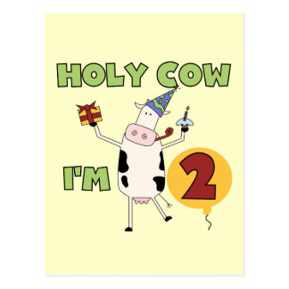 Holy Cow I'm 2 Birthday T-shirts and Gifts Postcard