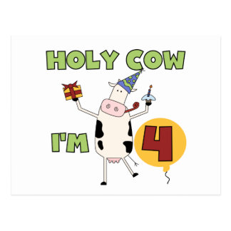 Holy Cow I'm 4 Birthday T-shirts and Gifts Postcard