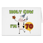 Holy Cow I'm 70 Birthday Tshirts and Gifts Greeting Cards