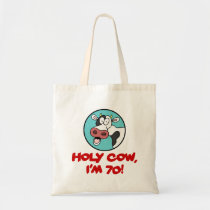 Holy Cow I'm 70 Funny 70th Birthday Tote Bag