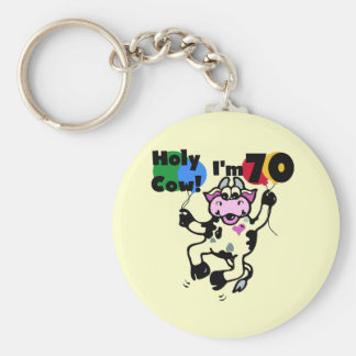 Holy Cow I'm 70 Tshirts and Gifts Basic Round Button Keychain