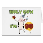 Holy Cow I'm 90 Birthday Tshirts and Gifts Card