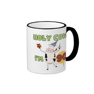 Holy Cow I'm 90 Birthday Tshirts and Gifts Ringer Coffee Mug