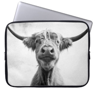 Holy Cow Mesotint Style Art Photography Laptop Computer Sleeves