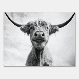 Holy Cow Mesotint Style Art Photography Yard Sign