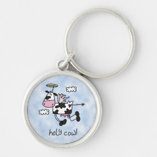 Holy Cow! Silver-Colored Round Keychain